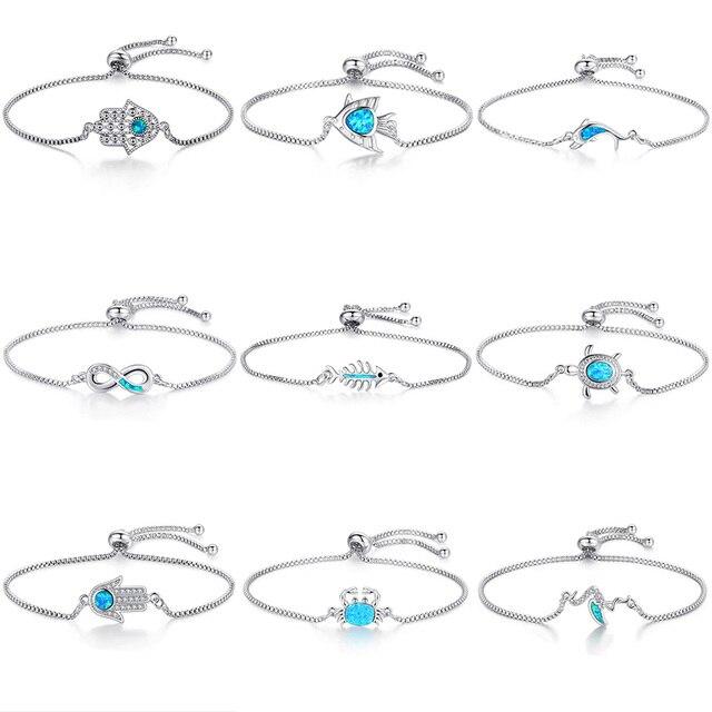 2018 New Fashion Blue Zircon Crystal Opal Cross Charm Bracelet Adjustable Chain Silver Bracelet for Women Friendship Jewelry