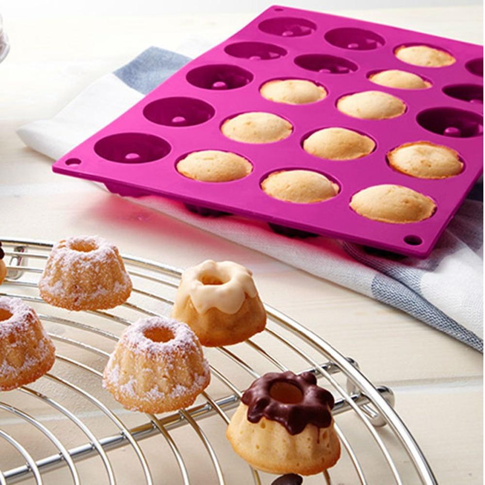 Germany Brand 20 Cavity Silicone Savarin Cake Mold Pudding <font><b>Chocolate</b></font> Bakeware Chiffon Mini Muffin <font><b>Cup</b></font> Baking Tools N0502