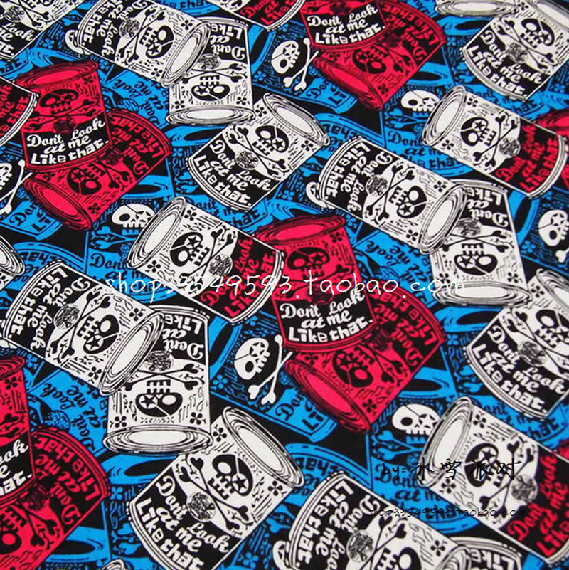 New 140cm Width Canned Skull Fabric 100 Cotton Fabric Telas Patchwork Canned Skull Printed Fabric Sewing