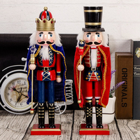 1pc 38cm Wooden Nutcracker Soldier with Wands Design Handcraft Puppet Christmas Ornaments Home Decoration Gifts for Christmas