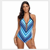 Bikini One Piece Swimwear sexy Blue Fish Scale Mermaid Maillot Teddy Swimwear women Bandage Monokinis swimsuit