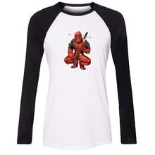 iDzn Women T-shirt Funny Deadpool Spiderman rainbow unicorn Wade Winston Wilson Marvel Comics Long Sleeve Girl T shirt Tee Tops