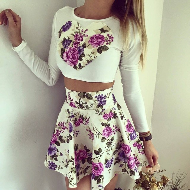 New 2016 Women's Set Floral Love Heart Print Long Sleeve Crop Top + Skirt Mini 2 Pieces Set Women Set Vestidos S51205