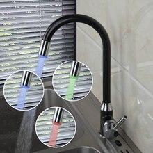 3 Farben LED-Licht Chrom Poliert Swivel Küchenarmaturen Cozinha Torneira Deck Montiert Einlochmontage Bad Wasserhahn Mischbatterie