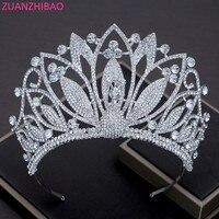 ZUANZHIBAO Big Pageant Tiaras For Bride Crystal Bridal Headdresses Tiara Royal Crown Headbands Diadem Wedding Hair Accessories