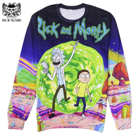 Rick And Morty 3d Women Sweatshirt 2017 Harajuku Style Cartoon Galaxy Printed Hoodies Men Brand Funny