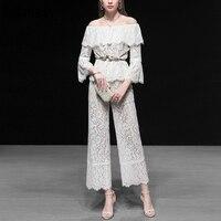 Seifrmann Лето Для женщин костюмы взлетно посадочной полосы модные дизайнерские топы с открытыми плечами + выдалбливают кисточкой Длинные брюк