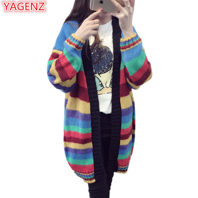 YAGENZ Women Sweaters Coat Black Top Spring Autumn Jacket Cardigan Long Coats Women Knit Sweater Rainbow Color Loose Coat 264
