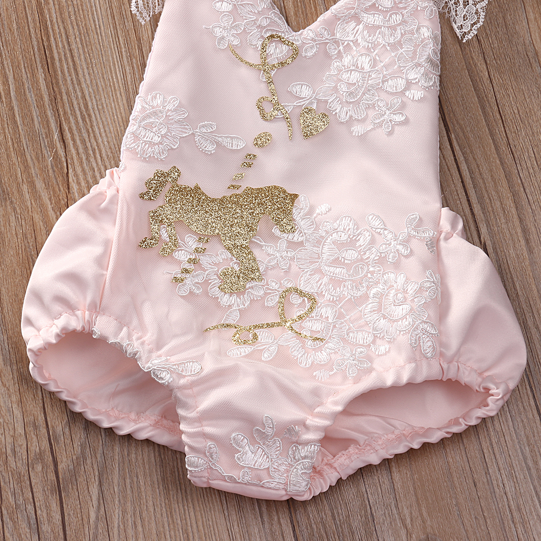 2pcs!!Toddler Newborn Baby Girls Pink Lace Romper+Tutu Skirt Wedding Party Formal Outfits Set
