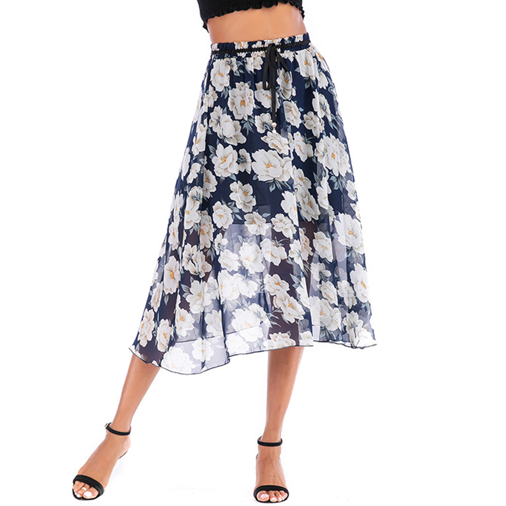 ff32d86ec Harajuku de cintura alta MEDIADOS DE-longitud falda de verano de  adelgazamiento dulce occidental ...
