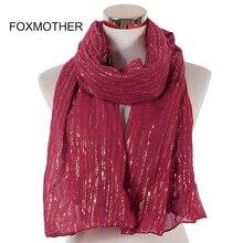 FOXMOTHER ใหม่แฟชั่นมุสลิม Burgundy ฟอยล์ทอง Chain ลายผ้าพันคอ Hijab ห่อ Foulard ผ้าพันคอ Femme