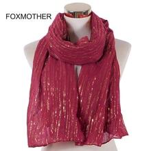 FOXMOTHER New Fashion Muslim Burgundy Foil Gold Chain Striped Scarf Hijab Wraps Foulard Muffler Scarves Femme