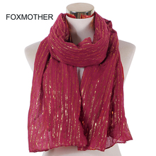 Foxmother 새로운 패션 이슬람 부르고뉴 호일 골드 체인 스트라이프 스카프 hijab foulard 머플러 스카프 femme