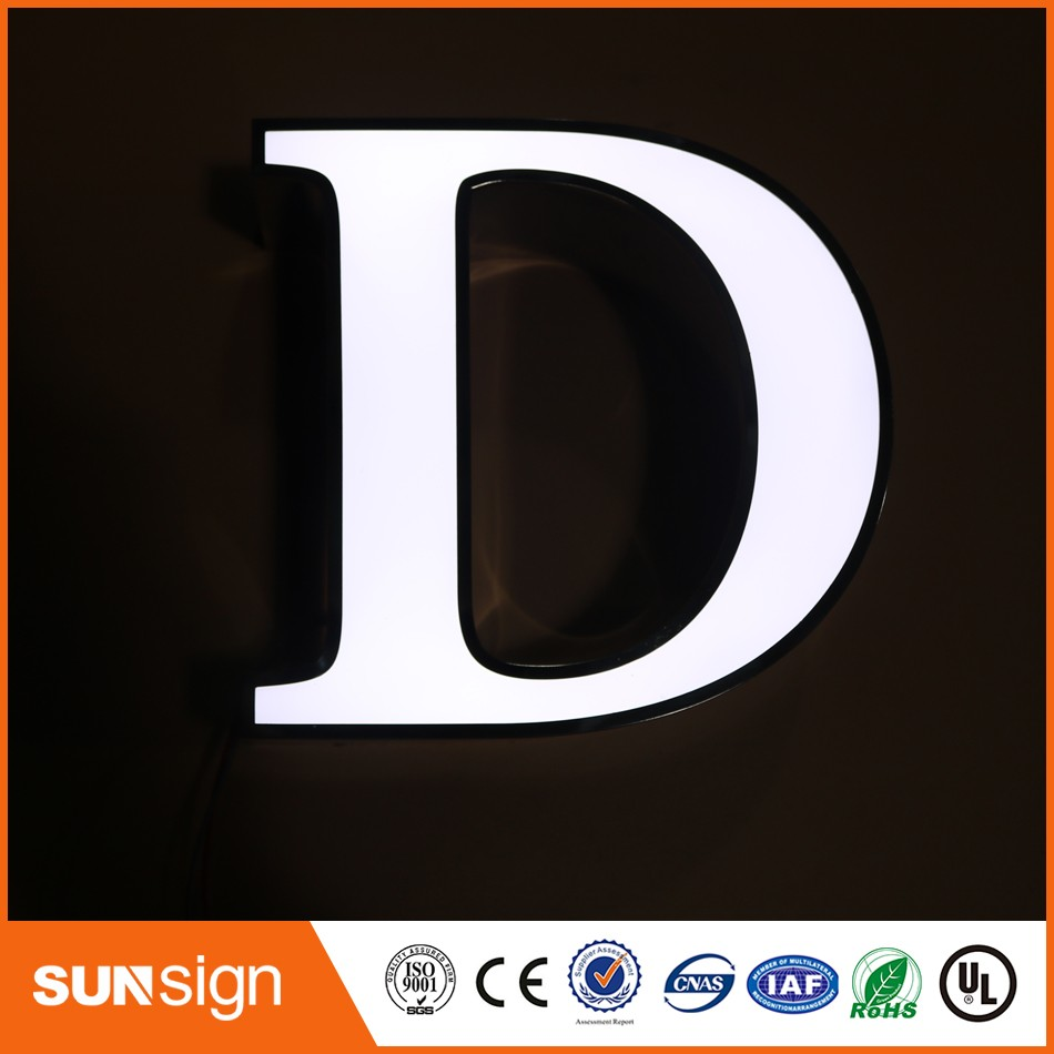 Custom Chain Stores Advertising Mirror Poslihed Stainless Steel LED Neon Light Up Letters