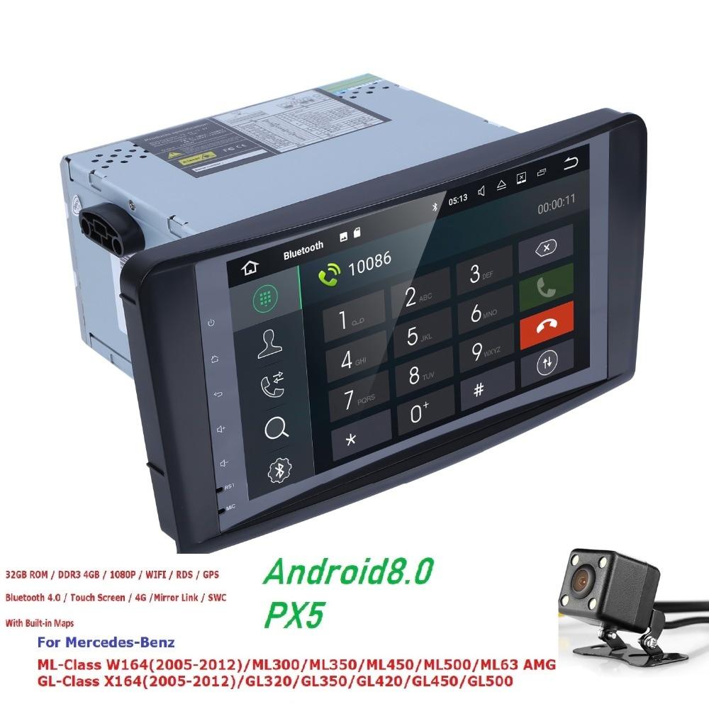 2 Din 9 Inch Android 8.0 PX5 Car NO DVD Player For Mercedes Benz GL ML CLASS W164 ML350 ML500 X164 GL320 4G RAM 4GWIFI GPS Radio isudar 1 din car multimedia player gps android 7 1 dvd automotivo for mercedes benz w164 ml300 ml350 ml500 gl320 gl350 radio fm