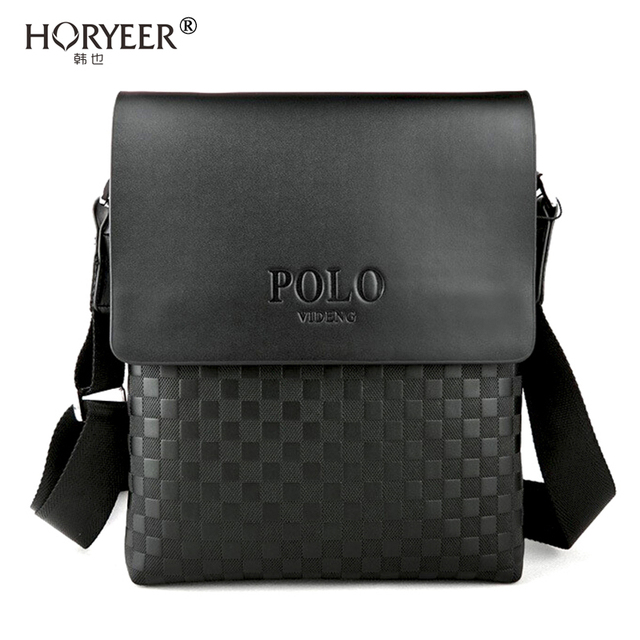 1d51a22394 HORYEER Luxury briefcase Plaid POLO bag Men messenger bags leather shoulder  bag Business crossbody bags for