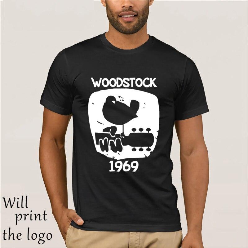 4d84ed43835 Вудсток 1969 Винтаж мужские классические печатных музыкальный фестиваль Новые  футболки блузки для малышек Забавные футболки и