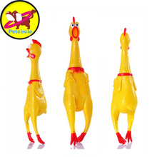 petcircle funny Dog Toys Rooster Crows Attract Puppy Dog and Cat Pet Squeak Toys Screaming Rubber Chicken size S-L