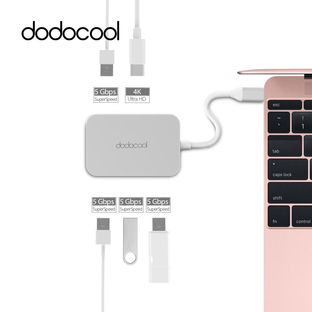 Prix pour Dodocool USB Hub Aluminium USB-C à 4-port USB 3.0 Hub avec HD Sortie Port Type-C Port 4 K HD Port pour MacBook USB C Type C Hub