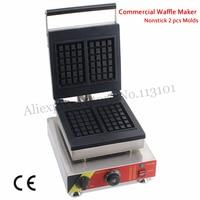 Commercial Rectangle Waffle Baker Machine Nonstick 2 Molds 1500W for Western Restaurant Bakery