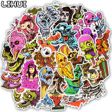 50pcs Seria Terror Sticker Graffiti Skeleton Dark Dark Stickers për Sticker DIY në rastin e udhëtimit Laptop Skateboard Guitar Frigorifer