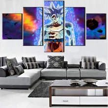 5 Stuk Canvas Art Ultra Instinct Goku Migatte Geen Gokui Dragon Ball Super Poster Schilderij Canvas Wall Art HD Foto Woondecoratie