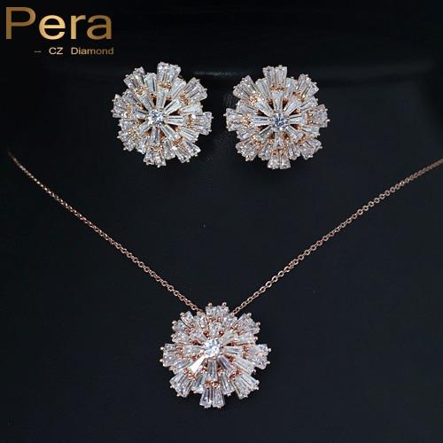 Pera Trendy Women Costume Accessories Jewelry Rose Gold Color Big Snowflake Shape Pendant Necklace Earrings Set For Ladies J111 & ?Pera Trendy Women Costume Accessories Jewelry Rose Gold Color Big ...