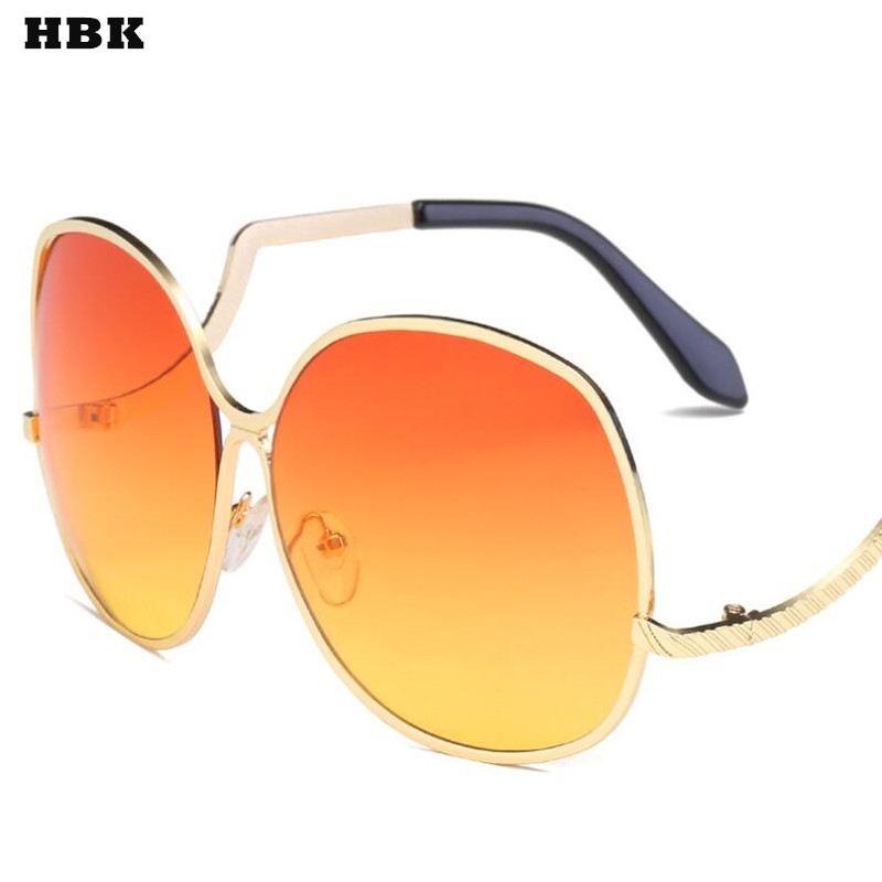 HBK Women Sunglasses Round Oversized Sunglasses Women Big Retro Brand Designer Vintage Clear Lenses Gradient Sun Glasses