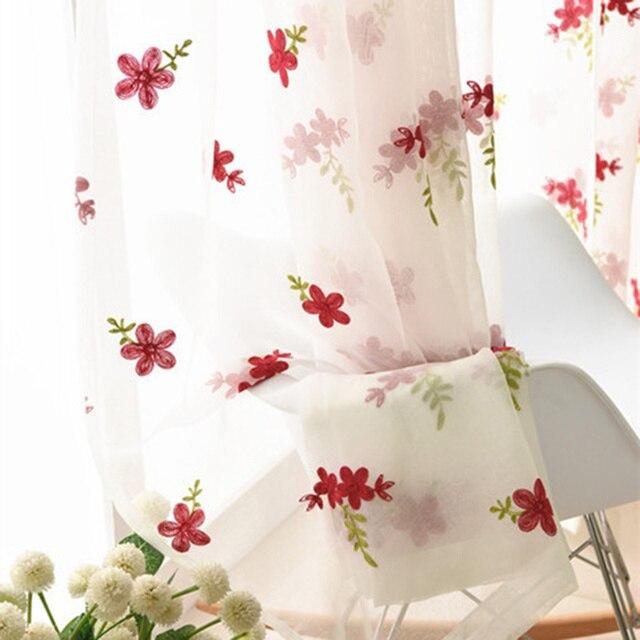Di lusso Ricamato Rosa Fiori di Lavanda Tulle Blu Tende Per Il Salone Rosa Rossa ricamo Tende Viola Sheer wp140 & 2