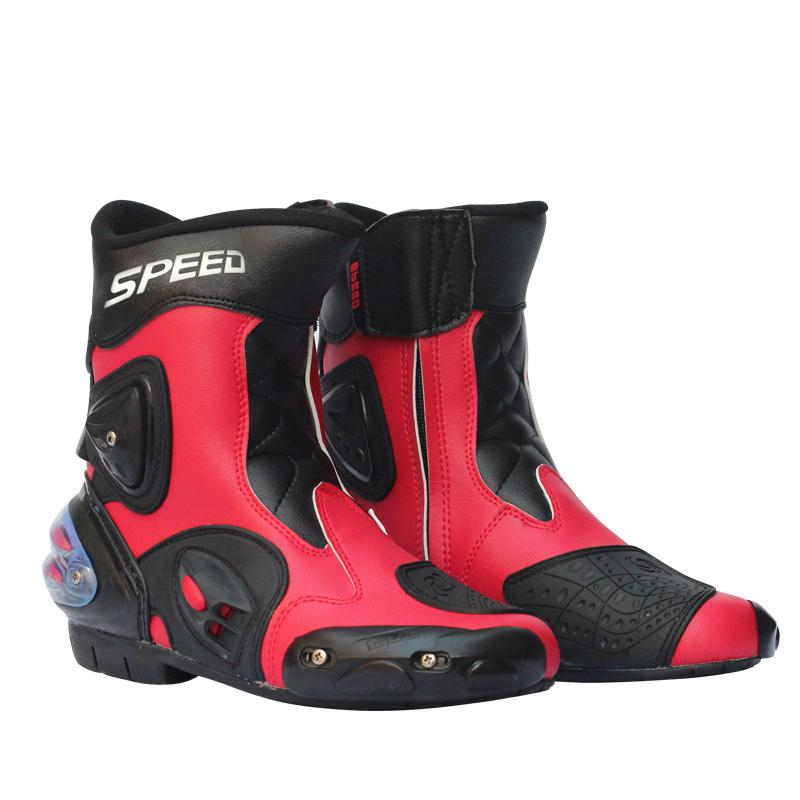 LumiParty Motorcycle Boots Men Motorcycle Racing Shoes Leather Motorcycle Boots Riding Motorbike Motocross Off-Road Moto Boots