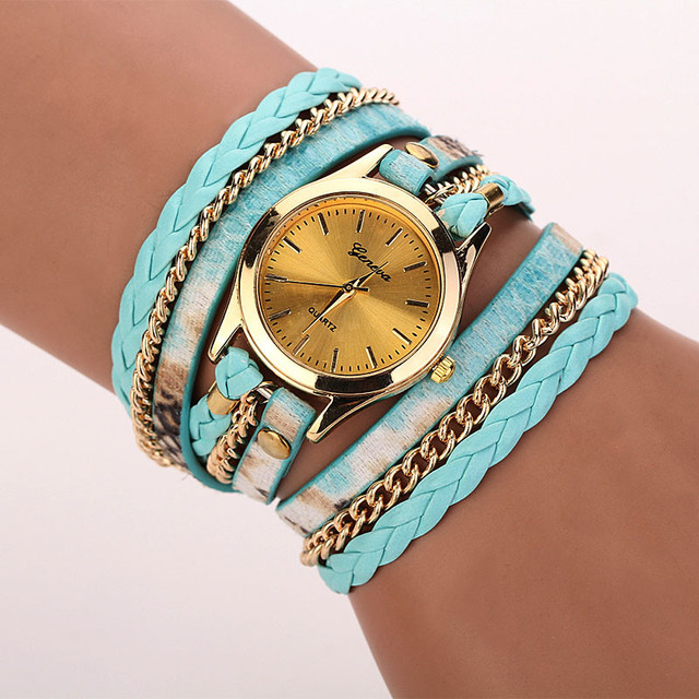 Amecior Brand Leopard Band Bracelet Braided Winding Wrap Quartz WristWatch Fashi