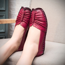 Women Shoes 2017 New Fashion Genuine Leather Flat Shoes Woman Loafers Handmade Soft Outsole Comfortable Casual Shoes Women Flats