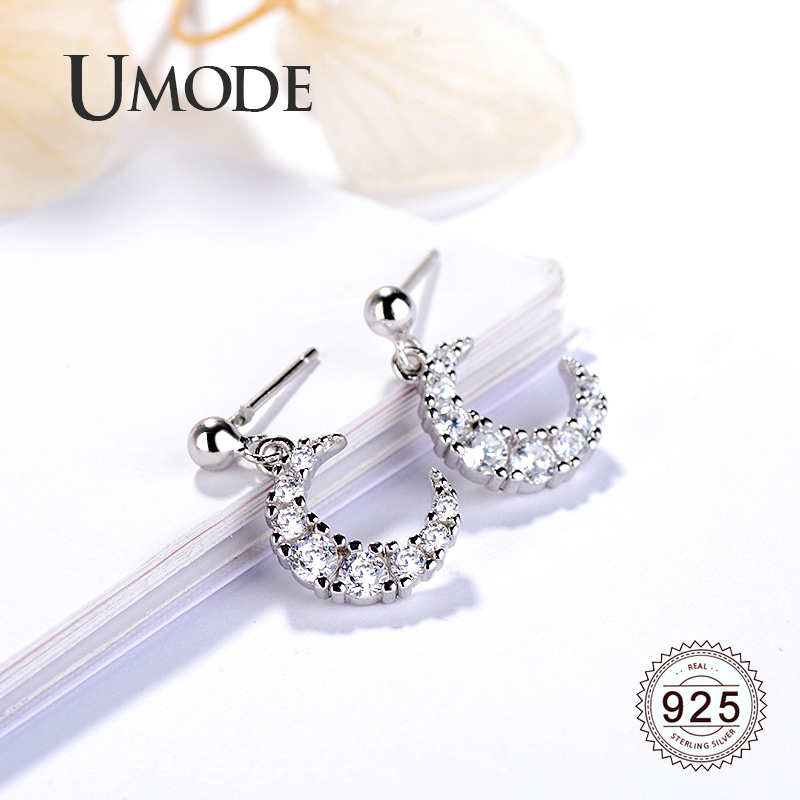 UMODE Moon 925 Steeling Silver Drop Earrings for Women Dangling Earrings Zirconia Wedding Fashion Jewelry Accessories LE0613