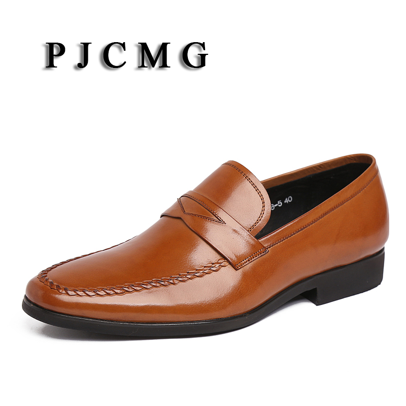 PJCMG Fashion Black/Brown Men Loafers Flats Mens Dress Pointed Toe Slip-On Genuine Leather Mens Casual Wedding Party Shoes women ladies flats vintage pu leather loafers pointed toe silver metal design
