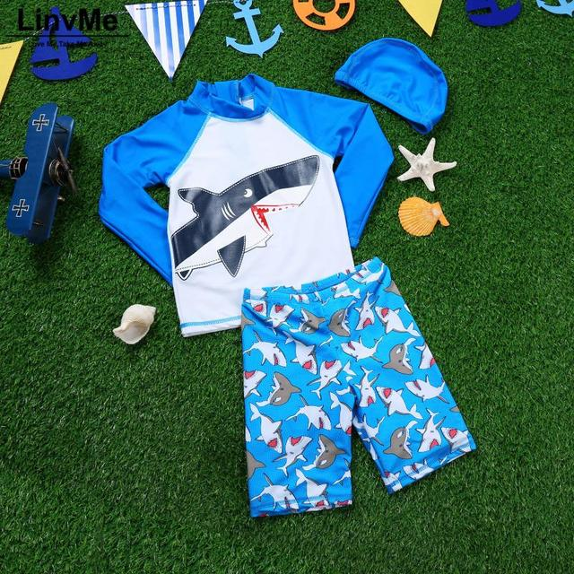 Funfeliz Boys Surf swimwear 2018 Children Swimsuit with Swimming Cap Cartoon Shark Swimsuit for Kids 1-13T Boys Swim trunk