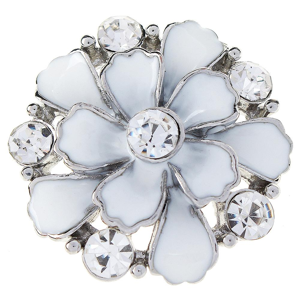 JaynaLee 30mm White Enamel With Crystal  Flower Ginger Snap Charm Fit Snaps Interchangeable Jewelry For Women Men Gifts GJS1058