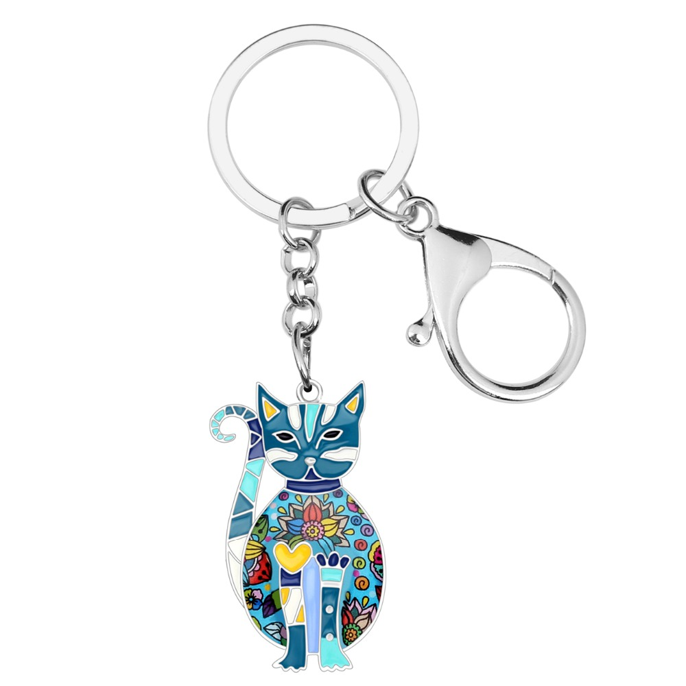 Enamel Elegant Kitten Key Chains