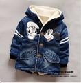 1-6Years/2016 весна осень дети девушки куртки пальто Джинсовой пальто детей марка одежда для новорожденных детская одежда Микки пальто куртки