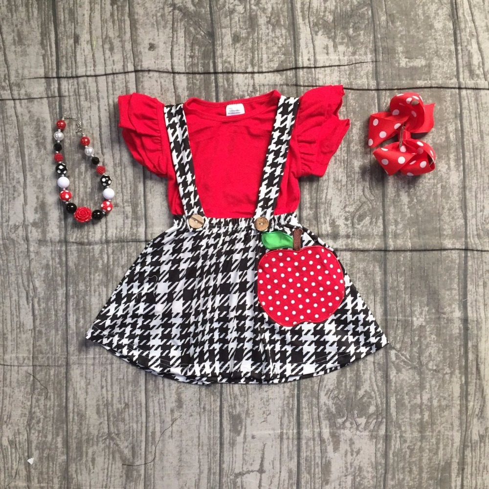 4 pieces girls kids back to school clothing children red top with black Azect skirts sets girls apple outfits with accessories цена