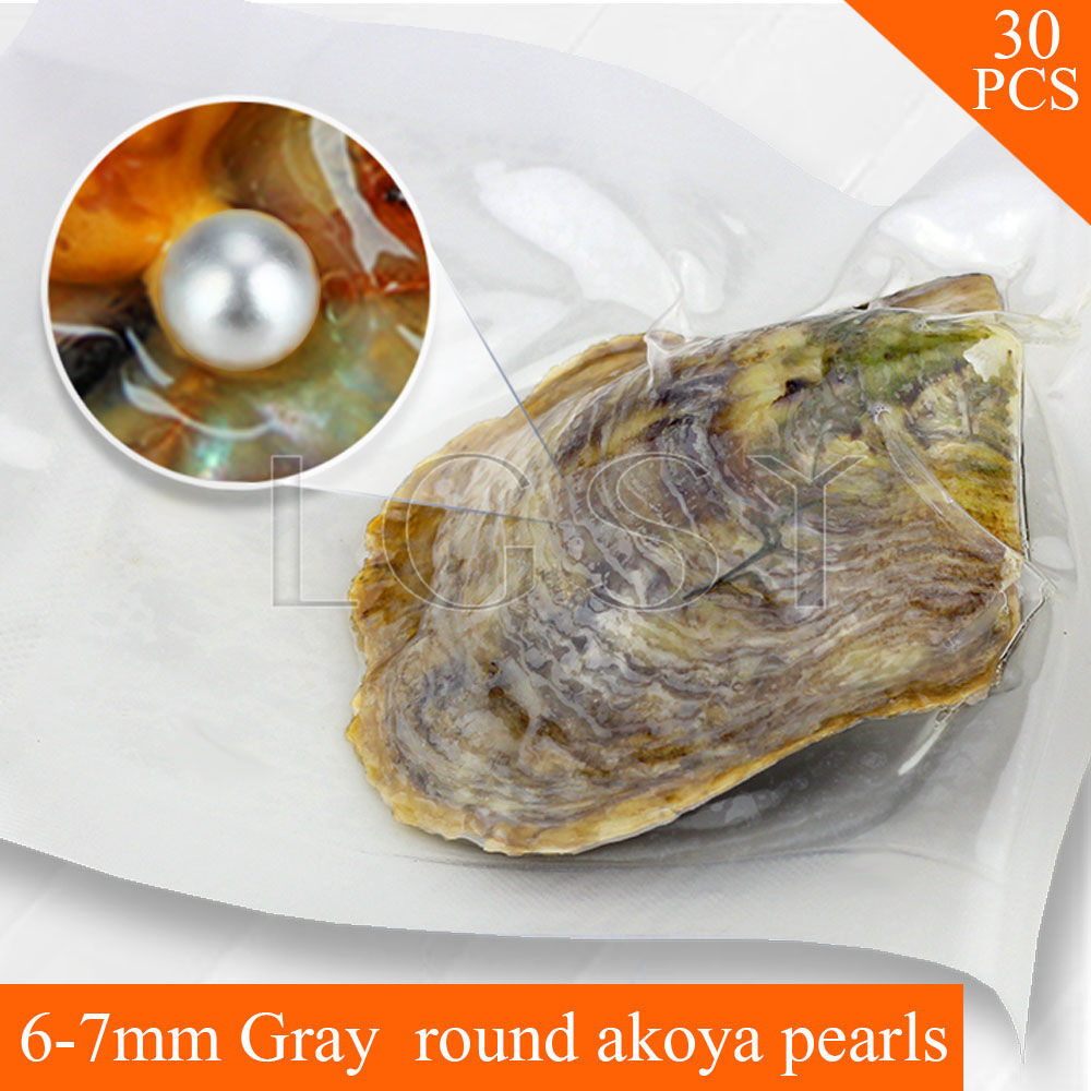 Bead wholesale Gray pearls 30pcs vacuum-packed oysters with 6-7mm round akoya pearls , UPS free shipping cluci free shipping get 40 pearls from 20pcs 6 7mm aaa blue round akoya oysters twins pearls in one oysters