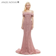 Angel Novias Long Elegant Pink Evening Dress 2018