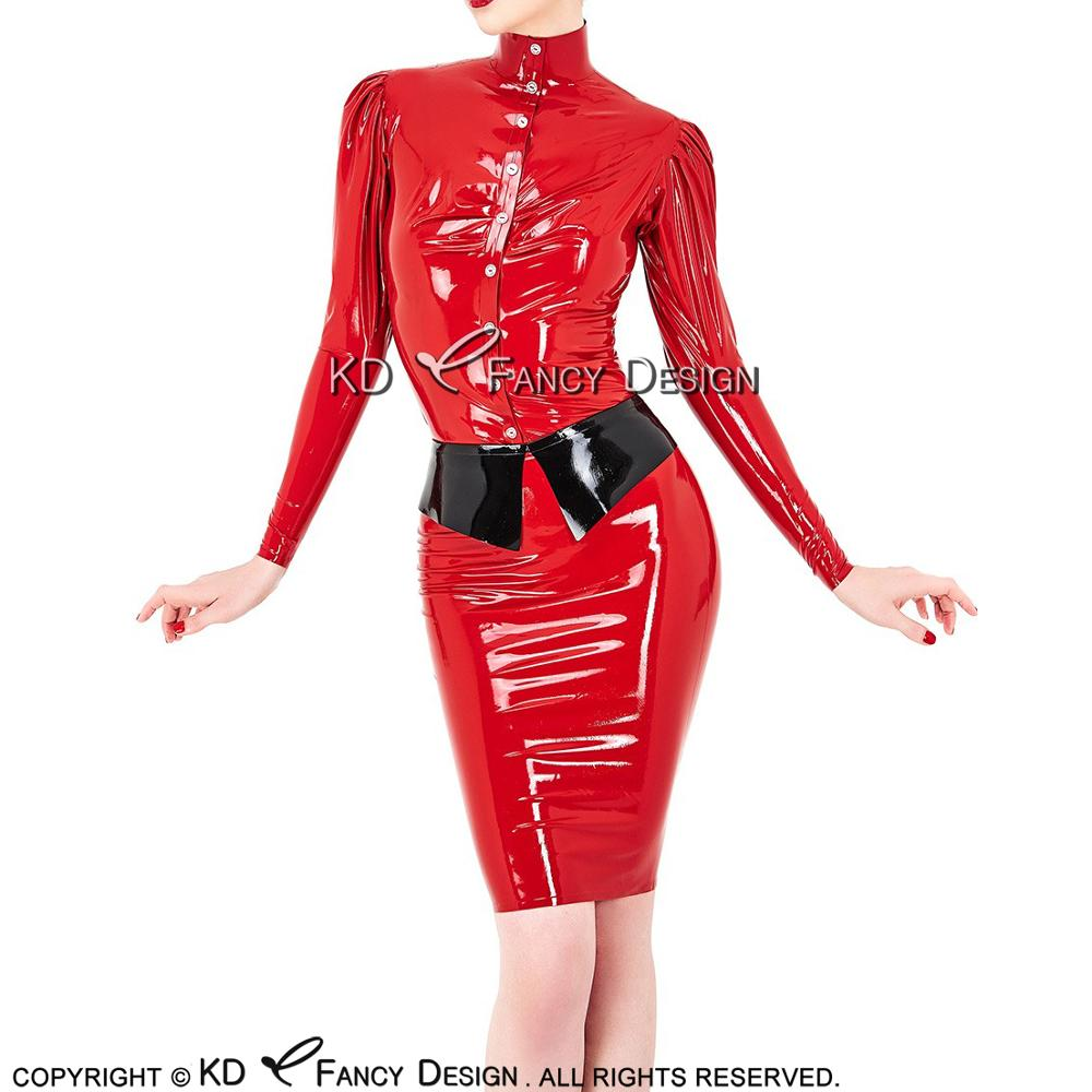 Red With Black Sexy Latex Hostess Uniform Sets Rubber Blouse And Skirts YF 0146