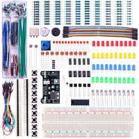 Upgraded Electronics Kit Power Supply Module, Jumper Wire, Precision Potentiometer, 830 tie-points Breadboard for Arduino