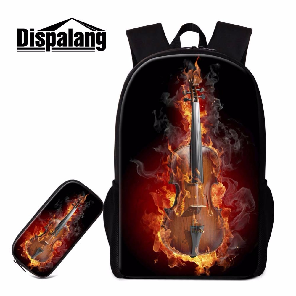 Dispalang guitar printing cool bookbag for boys student school back pack and pen pouch 2 PCS/SET custom 16 inch shoulders bag