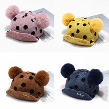 Mickey Ear Hats Children Snap Back Dots Pattern Caps Baseball Cap with Ears Autumn Winter Hip Hop Kids Baby Boy Girls
