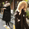 Женщины зимний куртка утка вниз хлопка пальто Настоящее raccon большой меховой воротник капюшон черный длинный дизайн девушка теплый толстый куртка 2016 новый