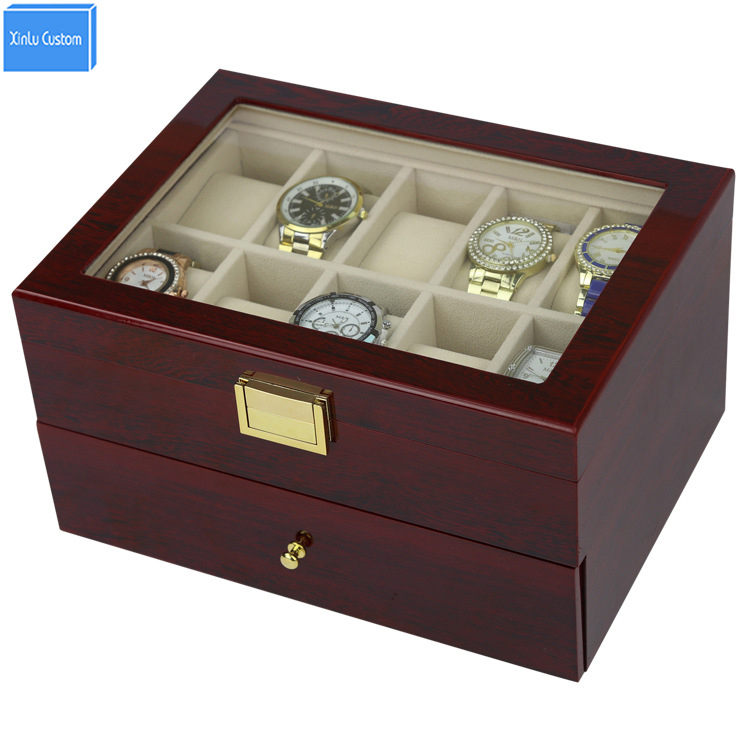 Enviar por DHL Luxury 20 Slots 2 Layer Rose Wood Glossy Lacquer Watch Box Wood Jewelry Collection Display EXW & Drop Shipping Supply