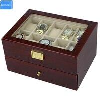 Senden durch DHL Luxus 20 Slots 2 Schicht Rose Holz glänzend Lack Uhrenbox Holz Schmuck Sammlung Display EXW & Drop Verschiffen versorgung|Uhrenboxen|Uhren -