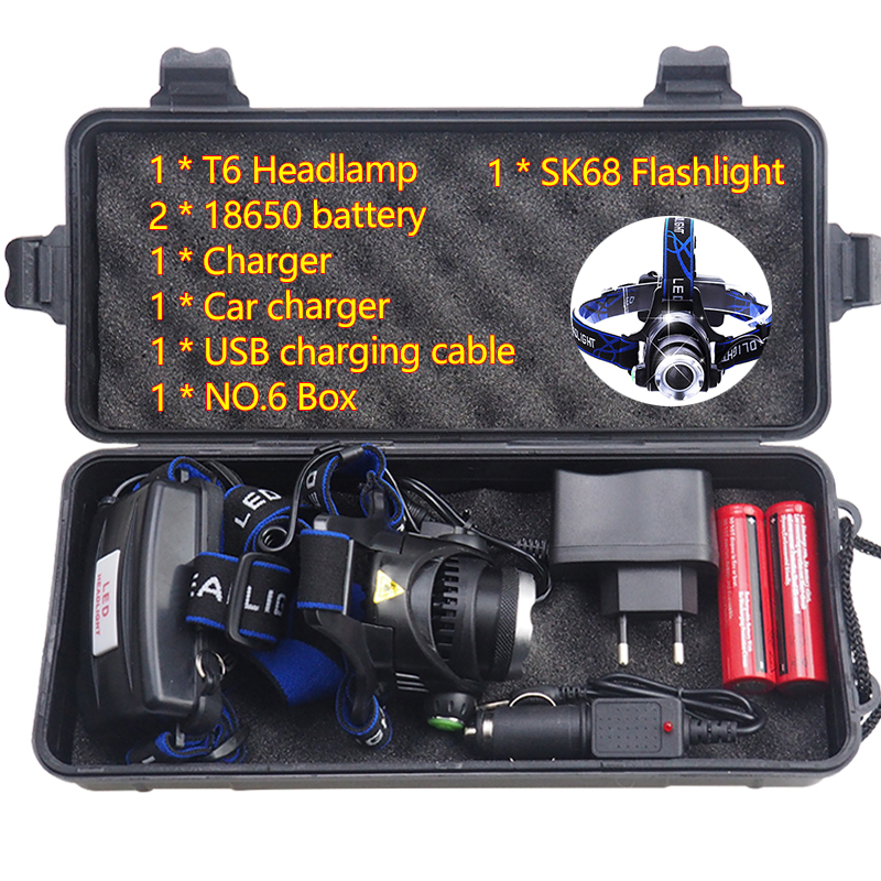 3800LM Head Lamp LED T6 Headlamp 90 Degrees Adjustable Head Lights with box/18650 Battery +USB Charge Cable/ Flashlight