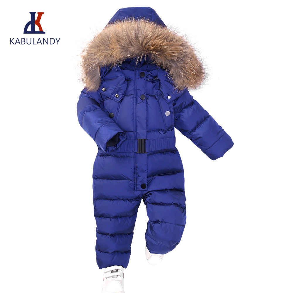 e74b60442 Winter Snowsuit Boy Baby Jacket Duck Down Outdoor Infant Clothes Girls  clothing For Boys Kids Jumpsuit